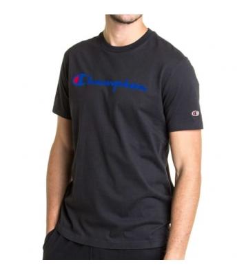 Tshirt noir basique logo bleu