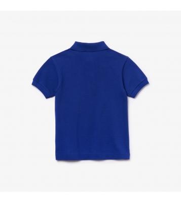 Polo bleu uni piqué
