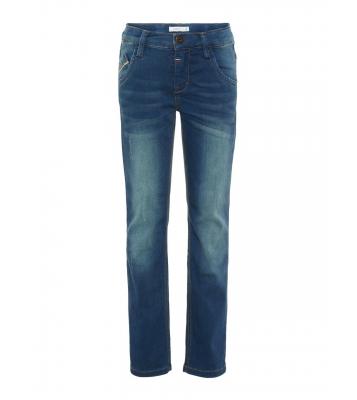Jeans bleu coupe droite