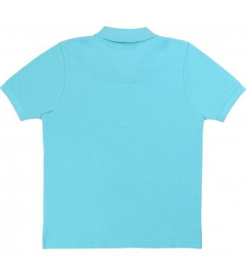 Polo bleu en maille piqué