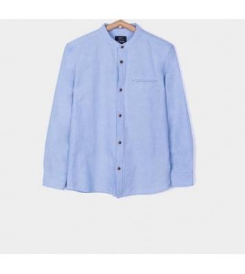 Chemise à col rond bleu