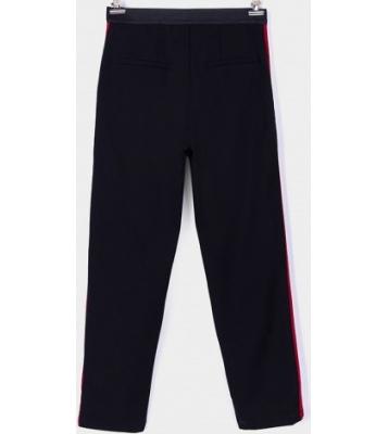 Pantalon noir à bandes rouges