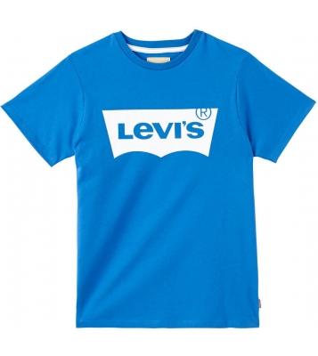 Tshirt basique bleu logo blanc