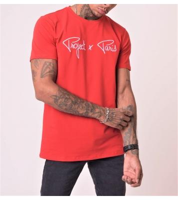 Tshirt rouge logo blanc
