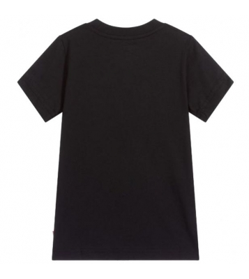 Tshirt basique noir logo rouge