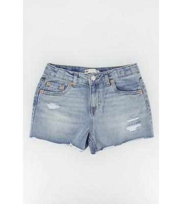 Short en jean filles bleu