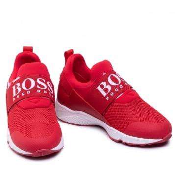 Baskets à élastique rouge