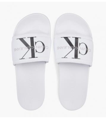 Claquettes blanches logo noir