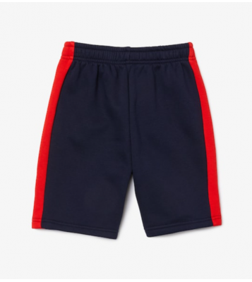 Short en molleton marine/rouge